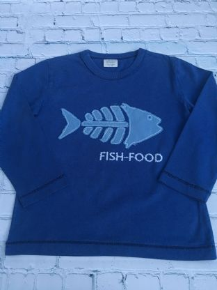 Mini Boden blue long sleeved top with applique fish age 5-6